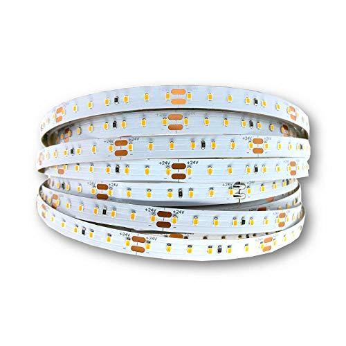 LED Streifen 2 Meter + kürzbar + selbstklebend + stromsparend | 9.6W/m 24V warmweiß | LED Stripe mit 3000K Farbtemperatur & 140 LEDs/m | LED Band mit 960 Lumen + IP20