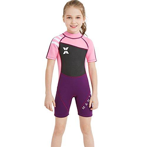 CSJD Kinder 2.5MM Warm Duikpak, 1-delige korte broek met korte mouwen voor zwempakken