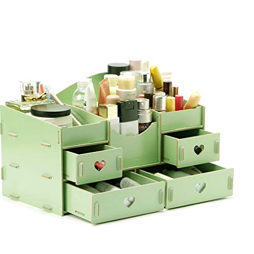 YUQIBXC Make-up Organizer Lipstick en Cosmetische Opslag, grote capaciteit, Houten Tafelblad Make-up Organizer passen verschillende grootte van cosmetica, borstels, paletten, lippenstift, 4 Lade 3 Compartiment