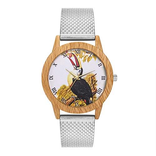 Luckhome Damen Smartwatch Mit Edelstahl Armband Mode Natur Holzmaserung Freizeit Vogel Zifferblatt Silikonband Quarzuhr Uhrenarmbanduhr Aus Silikon(Silber)