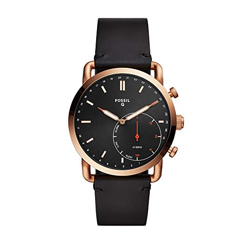 Fossil Men's Commuter Stainless Steel Leather Hybrid Smartwatch Rose Gold Black (Model: FTW1176)