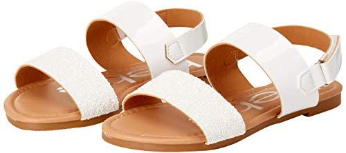 bebe Girls' Sandal – Two Strapped Open Toe Glitter Leatherette Sandals with Heel Strap (Toddler/Little Kid), Size 1 Little Kid, White