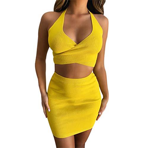 Damesmode mouwloos Low-Cut geel gebreide bovenstuk rok set outfit