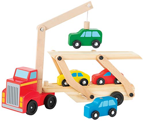 Bundaloo Magnetic Car Loader Truck with Lift - Wooden Carrier Vehicle Toy for Kids 3 and Up - Magnetic Crane and Cars, Removable Trailer - Educational Set for Learning Color, Imagination and Sorting