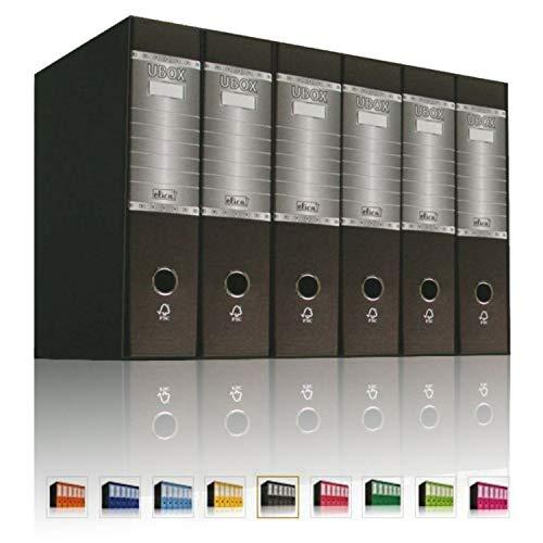 LogicaShop UBOX 6 Raccoglitori ad Anelli A4 Dorso 8 con Custodia Cartone, Formato Commerciale, Registratore con Meccanismo a Leva D, Raccoglitore con Scatola, Faldone Universale (Nero)