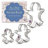 Ann Clark Cookie Cutters Juego de 3 cortadores de galletas hombre de jengibre con libro de recetas - 7,8, 9,5 y 12,7 cm - Acero fabricado en EE.UU.