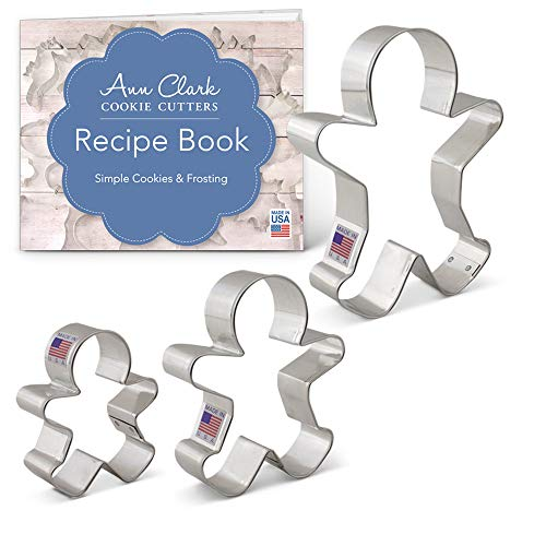 Ann Clark Cookie Cutters 3-Piece Gingerbread Man Cookie Cutter Set with Recipe Booklet, 2.9', 3.75', 5'