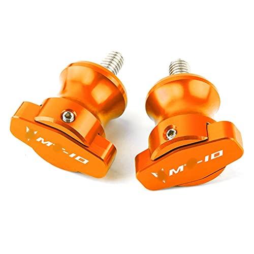 ZFSM Brazo Oscilante para Y-amaha MT10 MT-10 MT 10 Moto Swingarm Spools Slider Moto 6mm Stand Tornillos Slider Crash Protector (Color : Orange)