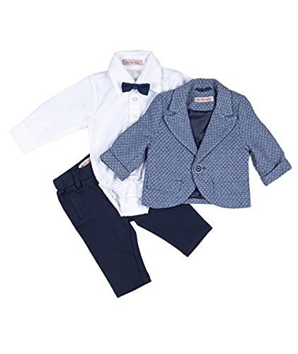 Cocolina4kids Jungen Anzug Taufanzug mit Sakko Festanzug Hochzeitsanzug Blau Taufset 5 Teile (74)