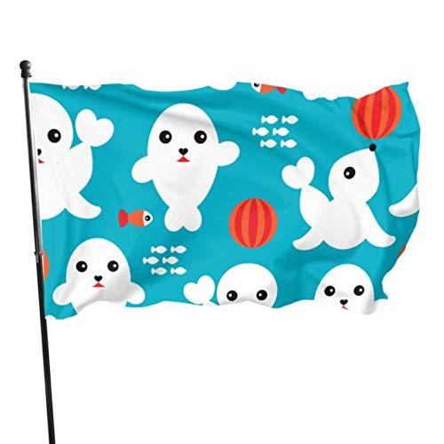N/A Garten Flagge,Willkommensflagge,Baby-Dichtungen Mit Niedlichen Gesichtern Yard Flag Stand Garden Yard Flag Flag Stand 3X5Ft Lebendige Farben Qualität Polyester Und Messing Ösen