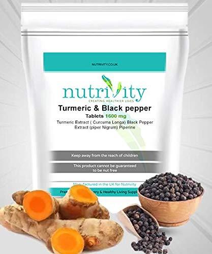 Kurkuma & zwarte peper 1600mg tabletten voor lever en gezamenlijke gezondheid door voeding