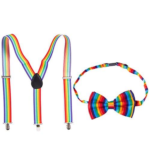 Juvale Gay Pride Rainbow Adjustable Bowtie and Y Shape Suspender Set