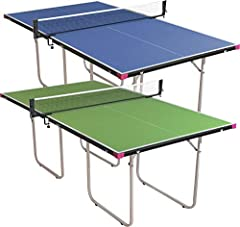 """FOLDABLE PING PONG TABLE - 3/4 size of a regulation table tennis table - 81"""" L x 45"""" W x 30"""" H NO ASSEMBLY & NET INCLUDED: Ships fully assembled with a free net set EASY TO PLAY - Slightly larger than a mid size table making it easier to keep the bal..."""