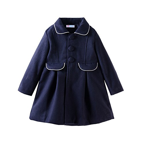 Mud Kingdom Little Girls Peacoat Dress Coat Slim Size 6 Navy Blue