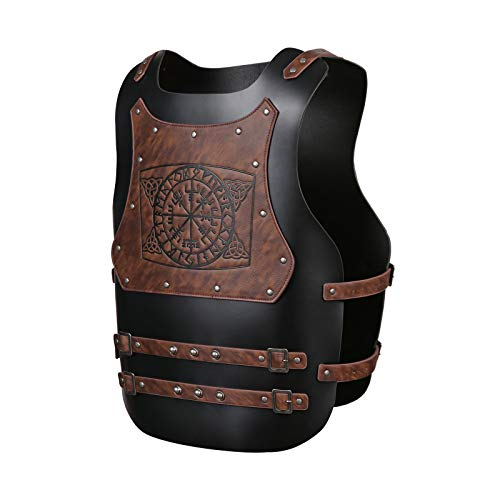 HZMAN Viking Warrior Chest Armor Medieval PU Leather Vest Leather Armor LARP Armor Medieval Armour for Party Cosplay Halloween Black