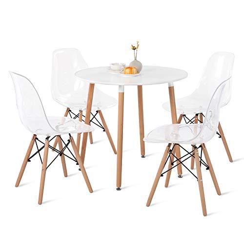 H.J WeDoo Esstisch mit 4 Stühlen Runder Esstisch Retro Design Küchentisch und Moderner Transparenter Stuhl für Esszimmer Küche Wohnzimmer