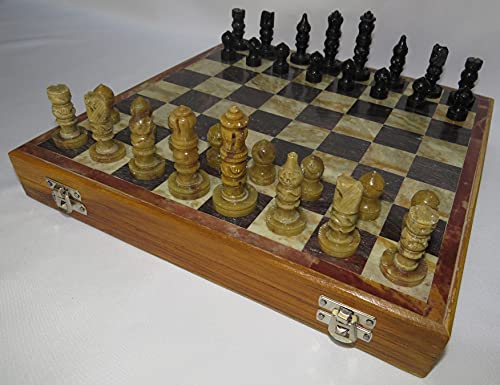 Alabaster Onyx Marble Chess Set - 12.0 Inch Chess Board - Hand Made - Chess Sets from India - Unique Chess Sets - Alabaster Chess Set