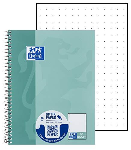 Oxford Schule Collegeblock A5, dotted, punktkariert, 80 Blatt, grünblau, 5er Pack