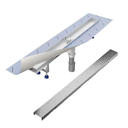 "Komplett-SET - Duschrinne 80 cm AQUABAD® SDS Pro aus Edelstahl inkl. Haarsieb, Abgang senkrecht, Blende""REGEN"" und Grundkörper-SET"