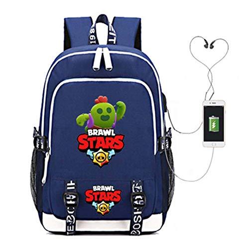 HSY Mochila escolar Brawl Stars, Mochila Garcon Casualmente Mochila escolar Mochila for niñas adolescentes Ocio Viajes universitarios con puerto de carga USB y conector for auriculares Tote Schoolchil