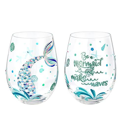 NymphFable Juego de Copas de Vino sin Tallo de 2 Sirena de Colores Pintadas a Mano Regalo Aniversario Personalizadas 520ml