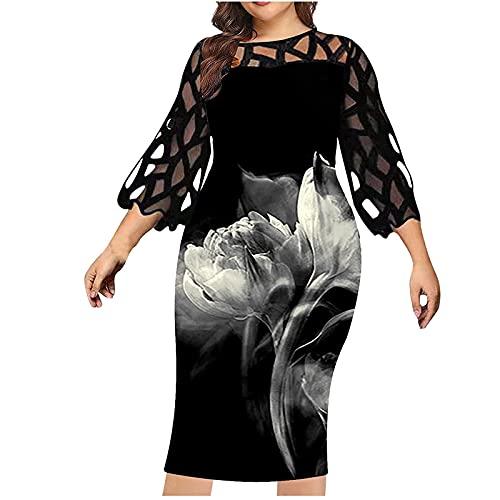 Damen Casual Blumendruck Kurzarm Schlitz Plus Size Langes Kleid Casual V-Ausschnitt Unregelmäßiges Kleid