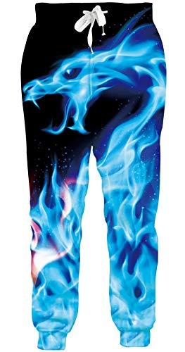 Loveternal Hipster Hose Herren Feuerdrache Jogginghose 3D Druck Fire Dragon Sweatpants Sport Hosen Casual Baggy Jogginghose L