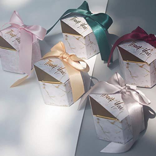 Xinger creatieve marmering stijl snoep dozen huwelijksgunsten en geschenken doos feestartikelen baby shower papier chocolade dozen pakket, bordeaux, 50 stuks