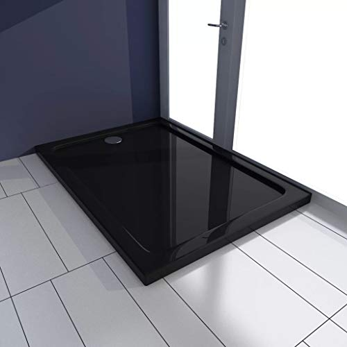 VIENDADPOW Plato de Ducha Rectangular ABS Negro 70x100 cm
