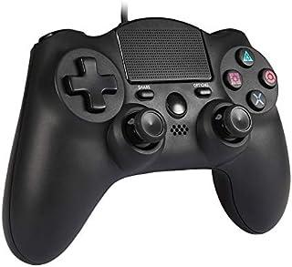 PS4 有線 コントローラー Hokyzam MK22 PS4 ゲームパッド 有線 USB 接続 ゲームコントローラー LEDライト 付き 振動機能搭載 安定 DUALSHOCK 4 Windows 7/8/10 対応(Third Party Product)ブラック