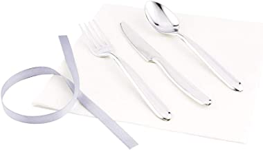"Silver Plastic Cutlery Set Wrapped with White Napkin & Silver Ribbon - Wrapped Cutlery Set, Plastic Cutlery Set - 7.3"" - 1..."