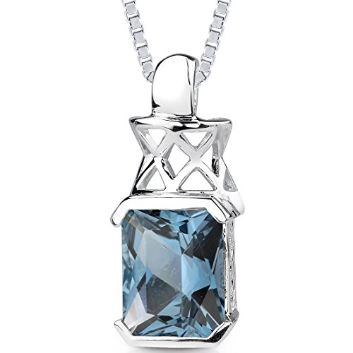 5.00 cts Radiant Cut London Blue Topaz Pendant in Sterling Silver Rhodium Nickel Finish: Peora