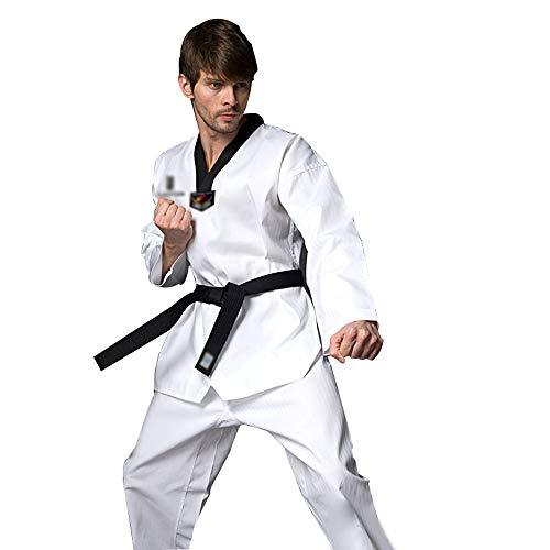 STAD Traje De Karate De Uniforme De Taekwondo Profesional Ropa De Entrenamiento De Artes Marciales Niños Adultos Principiantes Algodón con Cuello En V Unisex Cuello Negro Cinturón Blanco,Adult,XL