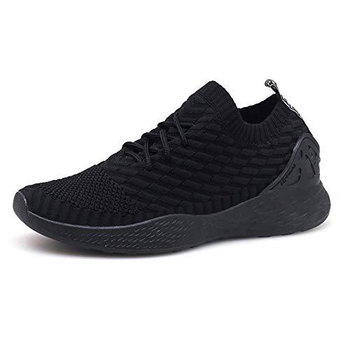 Zapatos para Correr Hombre Calcetines Zapatillas de Deportivo Slip on Sneakers de Gimnasia Jogging Low Top Calzado Knit Transpirables Fitness Negro 41