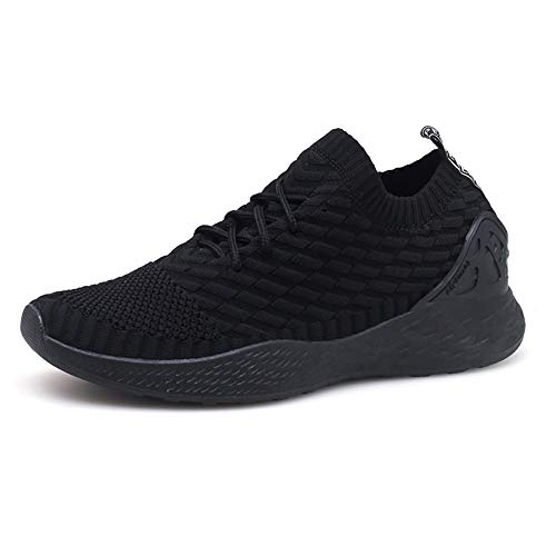 Zapatos para Correr Hombre Calcetines Zapatillas de Deportivo Slip on Sneakers de Gimnasia Jogging Low Top Calzado Knit Transpirables Fitness Negro 44