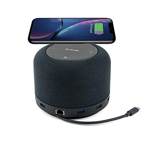 Universal USB-C Laptop Hub, Dock, and Speaker with USB-C/USB 3.0 Ports and Wireless Charging Pad for Work from Home (WFH) Compatible with MacBook and Windows PC   Hub by Remote