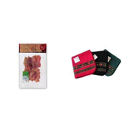 [2点セット] 薫製達人 豚バラベーコン燻製(60g)[飛騨山椒付き]・さるぼぼ 刺繍ミニタオル【赤】