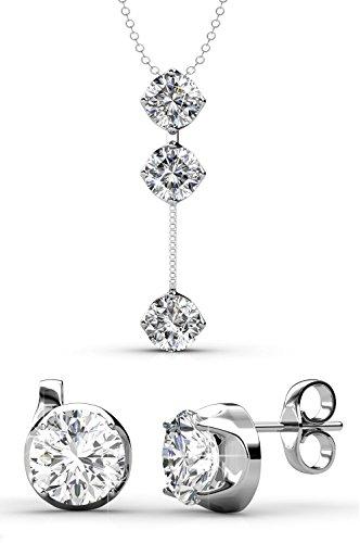 Yolora sieraden set met Swarovski kristallen - Ketting met hanger en bijpassende oorbellen - Oorstekers - Geschenkset dames - Zilverkleurig - YO-004