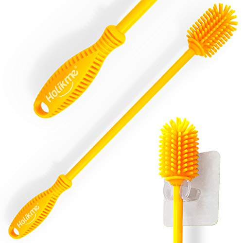 Holikme Silicone Bottle Brush Bottle Cleaner for Your Bottles Vase and Glassware Water Bottle Cleaning Brush for Washing Containers Yellow