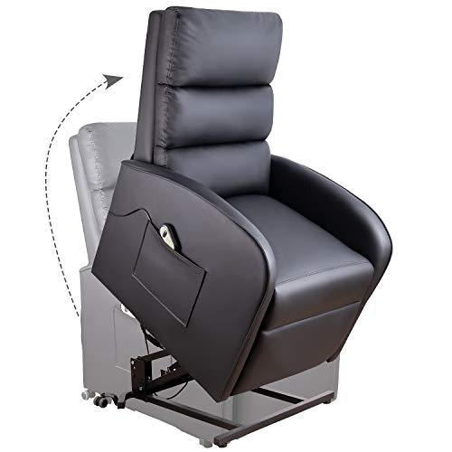 Homall Electric Power Lift Recliner Chair Sofa PU Leather Home Recliner for Elderly Classic Lounge Chair Living Room Chair with Safety Motion Reclining Mechanism (Black)