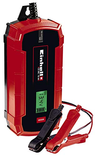 Einhell CE-BC 10 M, Cargador de baterías (con control por microprocesador para los más distintos tipos de baterías, entre otros automóviles/motos, máx. 10 amperio)