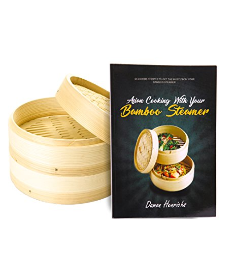 Bamboo Steamer Chinese Food Dumpling Maker - Steaming Basket - Dim Sum Steamer - Dumpling Steamer 9.5 inch - Two Layer Stackable Bamboo Asian Steamer Baskets With Cookbook