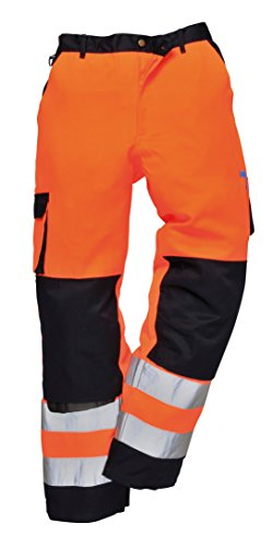 Portwest TX51ONRXL TX51-Lyon Warnschutz-Hose, orange/marine, XL
