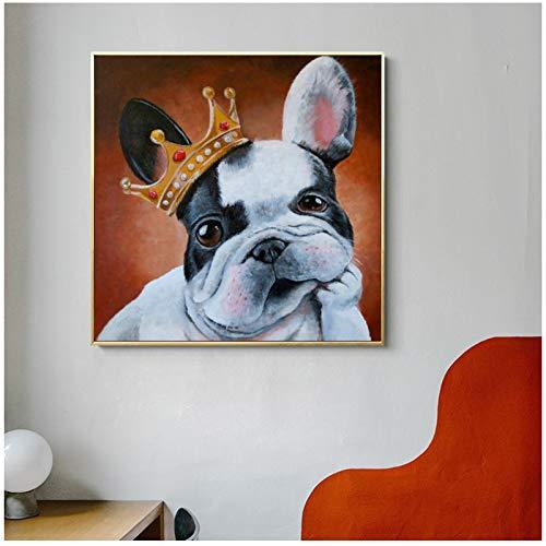 Impresión en lienzo Perro de dibujos animados abstracto nórdico con corona Pintura de lienzo Póster de animales e impresiones Imágenes artísticas de pared Decor de niños 60x60cm/23.6'x23.6' Sin marco