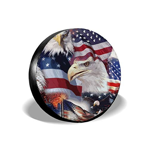 """Car Tire Cover Rainproof Protective Cover American Patriotic Flag Water Proof Universal Spare Wheel Tire Cover Fit for Trailer, RV, SUV and Various Vehicles 14"""" 15"""" 16"""" 17"""" Inch"""