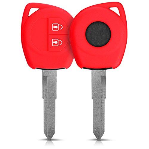 kwmobile Autoschlüssel Hülle kompatibel mit Suzuki 2-Tasten Autoschlüssel - Silikon Schutzhülle Schlüsselhülle Cover in Rot