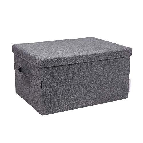 Bigso Soft Foldable Fiberboard Storage Box with Lid 87 x 118 x 157 in Medium Grey