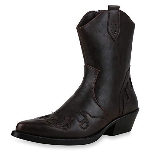 SCARPE VITA Herren Cowboy Boots Prints Profilsohle Leder-Optik Schuhe Stickerein 172462 Dunkelbraun 40