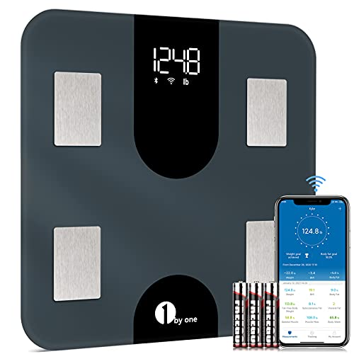 1 BY ONE Digital Scale for Body Weight, Body Fat Scale,BMI, Smart Weighing Bathroom Scale with Water and Muscle, WiFi, Bluetooth,High Capacity- 400 lbs