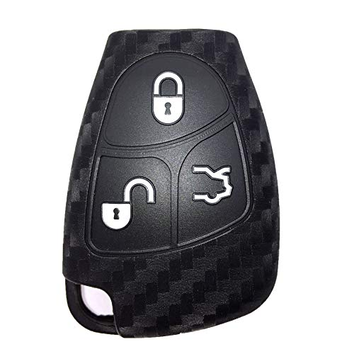 Funda para llave compatible con Mercedes Benz, funda protectora de silicona de fibra de carbono compatible con Mercedes Benz W203 W204 W211 B C E ML S CLK CL Remote Case 3 Button Protected